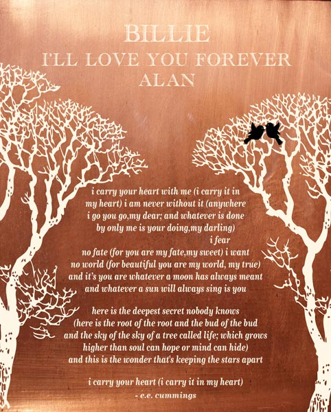 I Carry Your Heart Bare Trees Love Birds Winter Wedding
