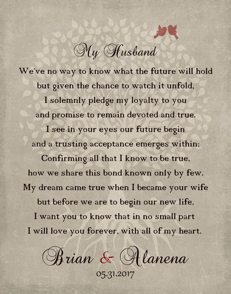 Wedding Day Pledge For From Wife Husband My Love Poem Keepsake Gift