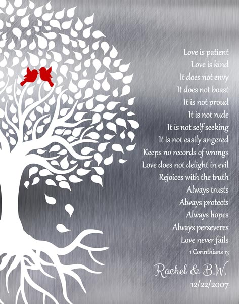Ten Year Conrithians Wedding Tree Roots Love Birds Love Is Patient Gift
