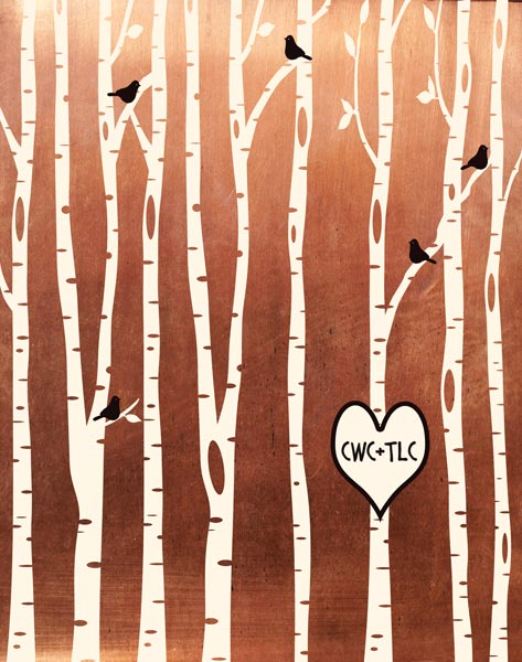 https://artfriendsy.com/product/7-year-anniversary-birch-trees-forest-wedding-gift-faux-copper-bare-trees-7th-seven-year-copper-personalized-custom-metal-art-print-1428-2/