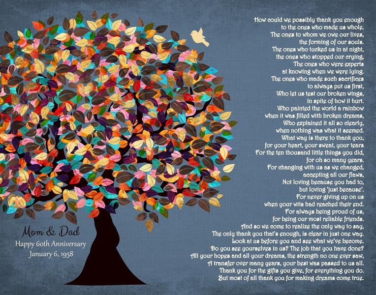 Thank You To Parents For Mom Dad Family Tree Gift