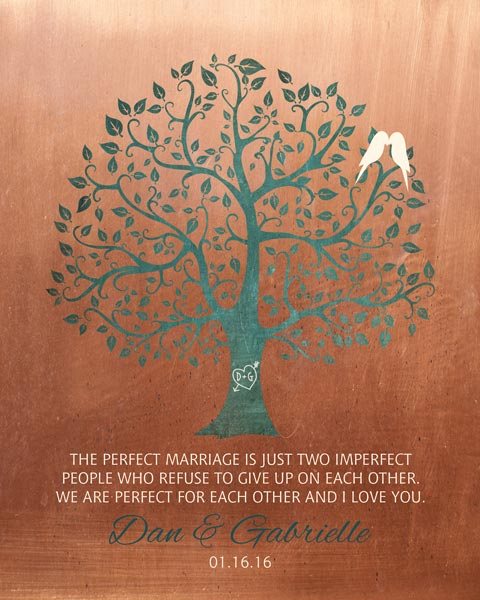 Mounted Canvas Perfect Marriage Imperfect People Faux Copper  Turquoise Wedding Art