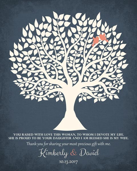Thank You Parents Wedding Tree Mother Of Bride From Groom