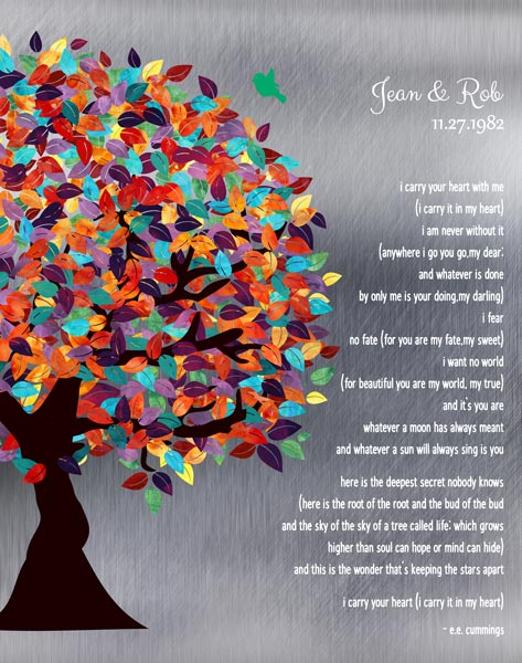 I Carry Your Heart With Me Colorful Spring Wedding Tree