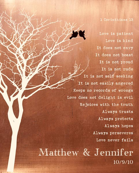 Bare Tree Love Birds Faux Copper Background Love Is Patient