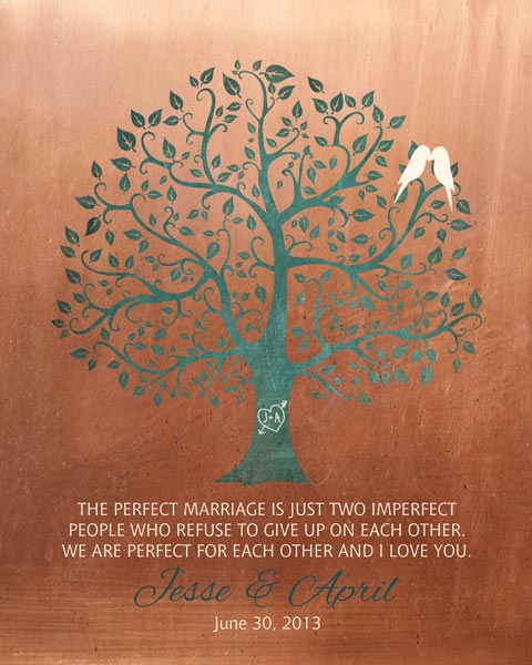 Perfect Marriage Imperfect People Faux Copper Background