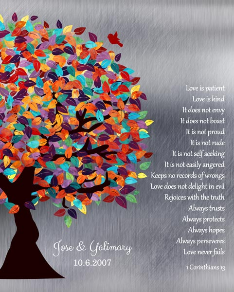 Anniversary Corinthians 13:13 Spring Wedding Tree Shiny Background Lovebirds