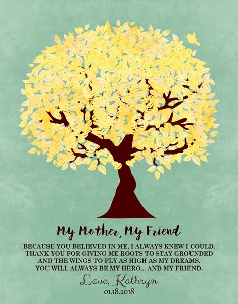 My Mother My Friend Believed In Me Family Tree Mother's Day Thank You Gift