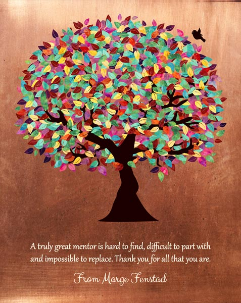 Mentor Gift Faux Copper Background Colorful Tree Of Life