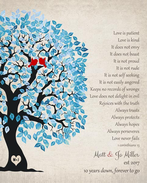 Blue White Wedding Tree Love Is Patient 1 Corinthians 13