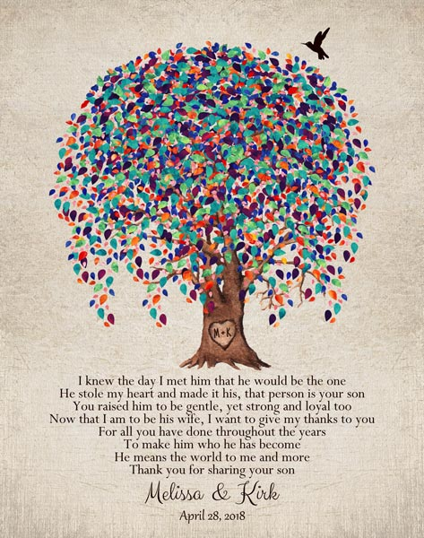 Mother Of Groom From Bride Watercolor Tree Of Life Thank You Gift