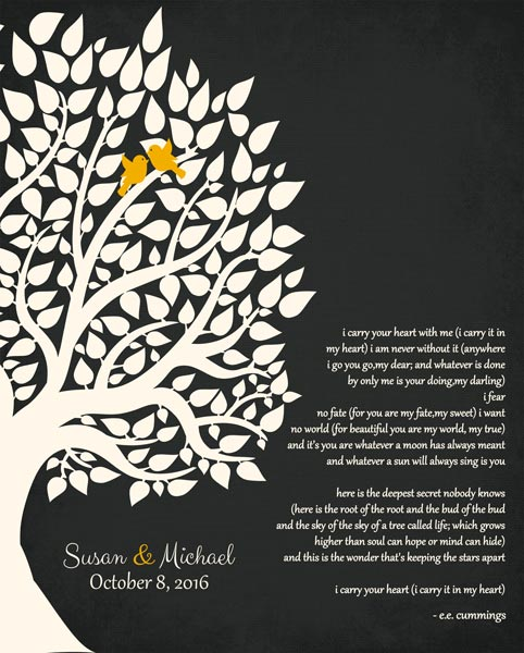 Couple Family Wedding Poem Tree Gift