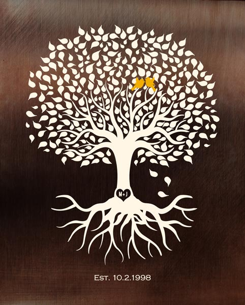 Faux Bronze Background Minimalist Tree Of Life Anniversary