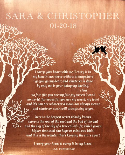 Wedding Vows Art Bare Trees Faux Copper Poem Gift