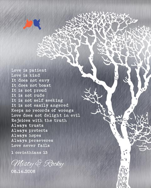 Corinthians Love Is Patient Shiny Background Bare Wedding Winter Tree Gift