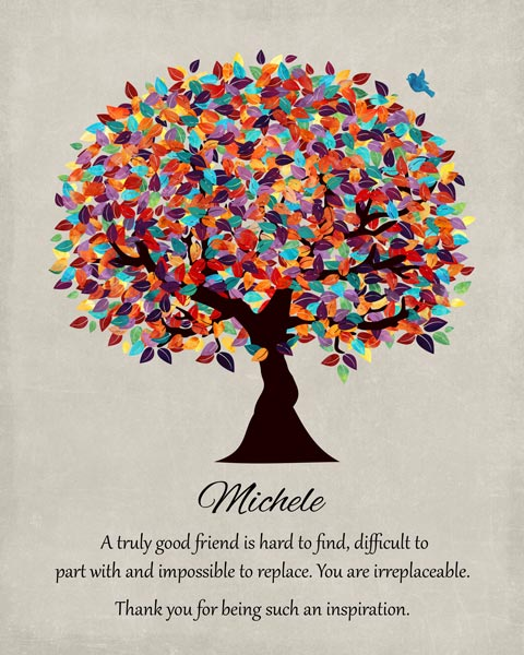 Friend Mentor Multi Colorful Tree Moving We Will Miss You Gift