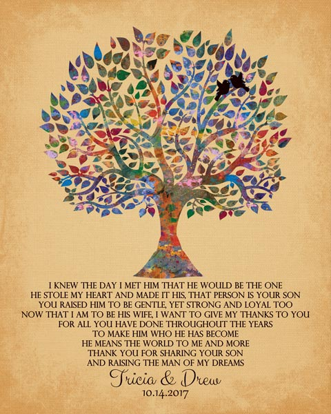 Mother Of The Groom Watercolor Family Tree Of Life Thank You