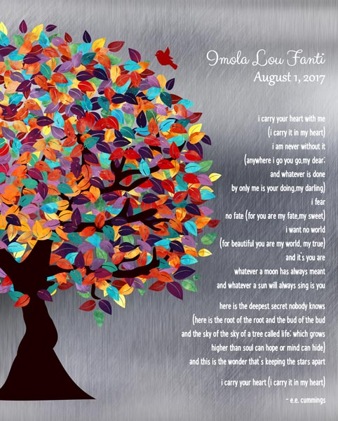I Carry Your Heart With Me Spring Tree Poem Shiny Tin Color